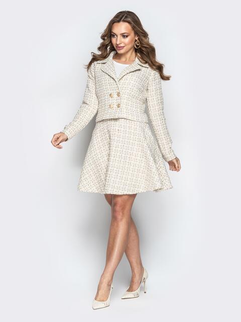 Белый комплект в клетку из жакета и юбки-трапеции - 21304, фото 1 – интернет-магазин Dressa