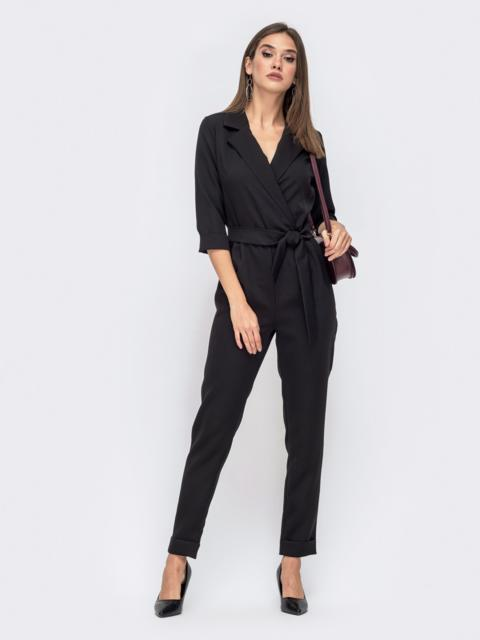 Черный комбинезон с лифом на запах - 41279, фото 1 – интернет-магазин Dressa