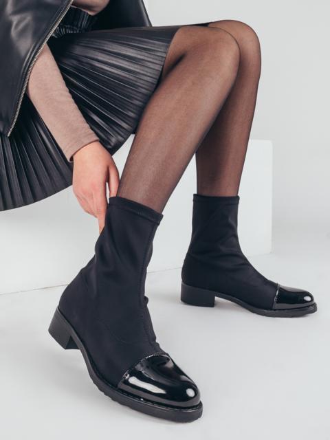 Демисезонные сапоги из текстиля с лакированными носками чёрные 51387, фото 1