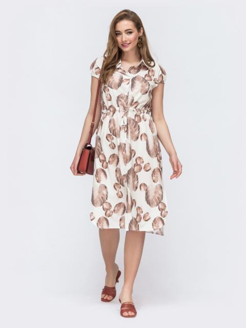 Молочное платье-рубашка с кулиской на талии 48505, фото 1