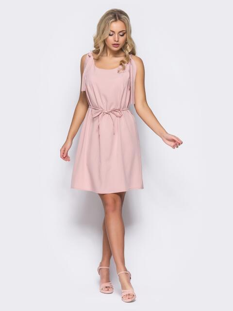 Платье на бретелях-завязках с поясом в комплекте розовое - 11065, фото 1 – интернет-магазин Dressa