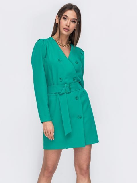 Платье-пиджак бирюзового цвета с широким поясом 53486, фото 1
