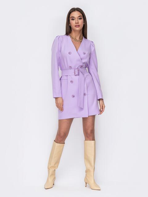 Платье-пиджак сиреневого цвета с широким поясом 53487, фото 1