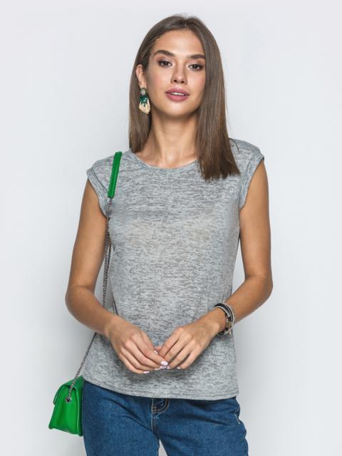Серая футболка из вискозы без рукавов - 39721, фото 1 – интернет-магазин Dressa