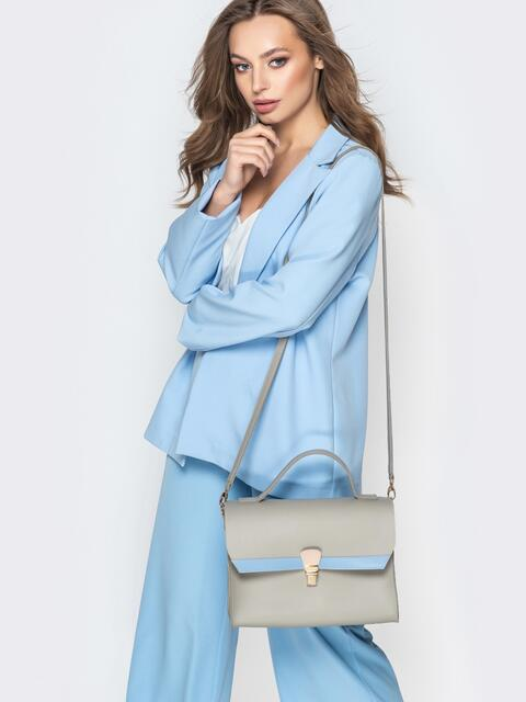Серая сумка-портфель с длинным ремешком - 21460, фото 1 – интернет-магазин Dressa
