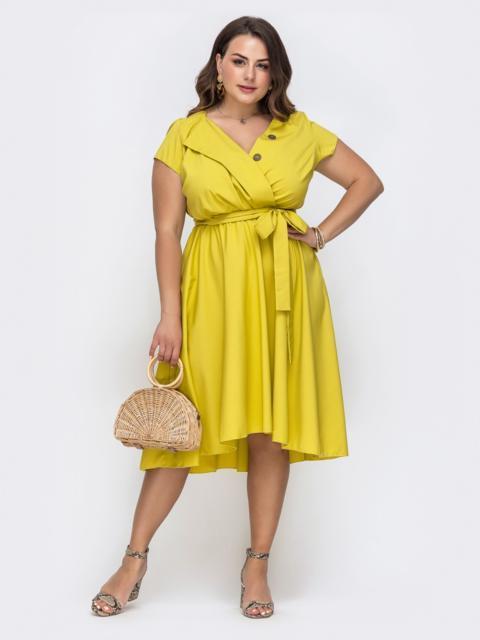 Желтое платье большого размера с расклешенной юбкой 49698, фото 1