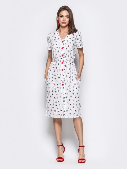 """Белое платье с принтом """"буквы"""" и контрастными пуговицами 21710, фото 1"""