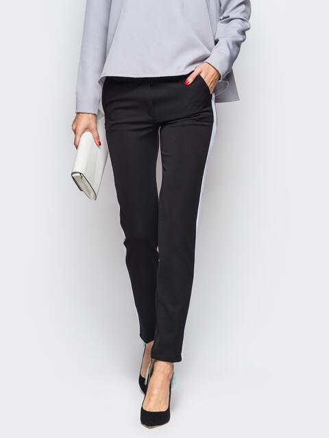 Черные брюки с белыми ласпасами 10305, фото 1