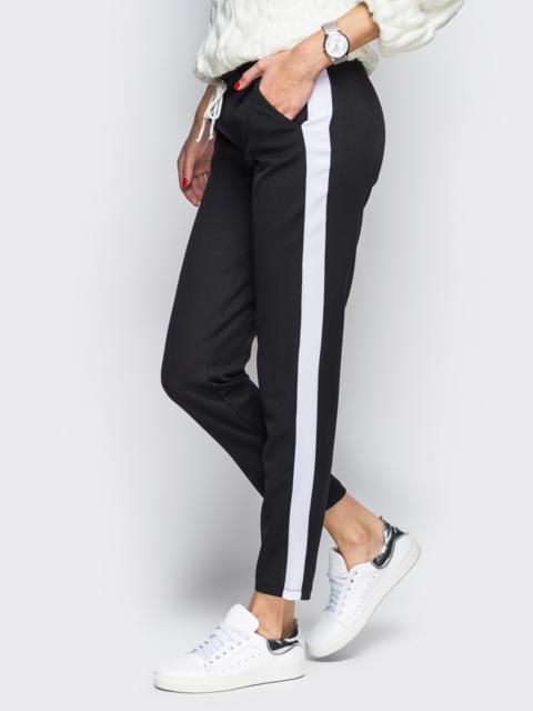 Черные брюки с поясом-резинкой и белыми лампасами 10306, фото 1