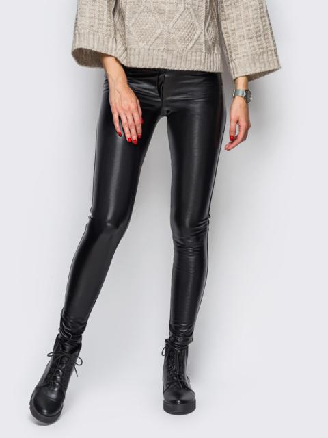 Эко-кожаные лосины без застёжек чёрные - 10651, фото 1 – интернет-магазин Dressa
