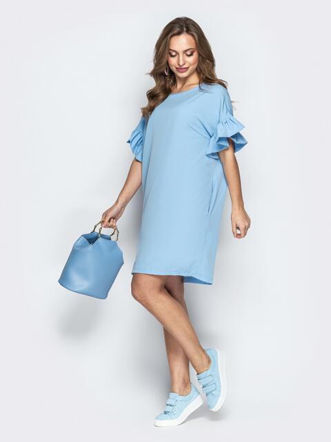 Голубое платье свободного кроя с воланами на рукавах - 21341, фото 1 – интернет-магазин Dressa