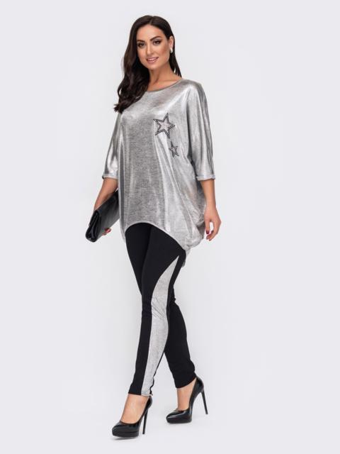Комплект большого размера с напылением на блузки серый 52163, фото 1