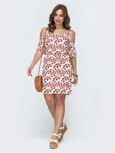 Молочное платье в цветочный принт на узких бретелях 46780, фото 1