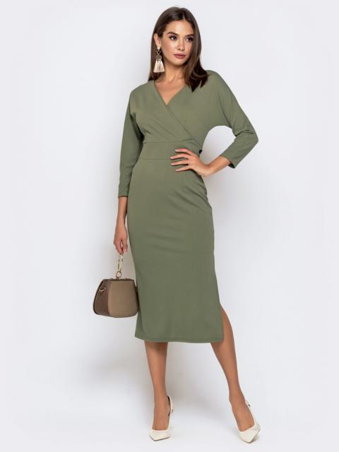 Обтягивающее платье цвета хаки с разрезом - 41034, фото 1 – интернет-магазин Dressa