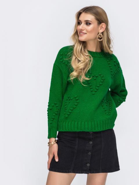 Свитер из шерсти с акрилом и объемным узором зеленый - 41813, фото 1 – интернет-магазин Dressa