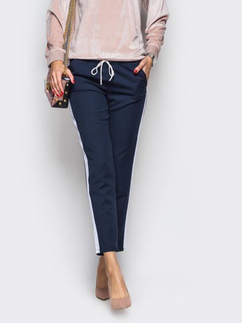 Тёмно-синие брюки с поясом-резинкой и белыми лампасами 23004, фото 1
