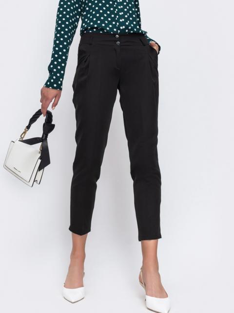 Укороченные брюки с вместительными карманами по бокам чёрные 49639, фото 1