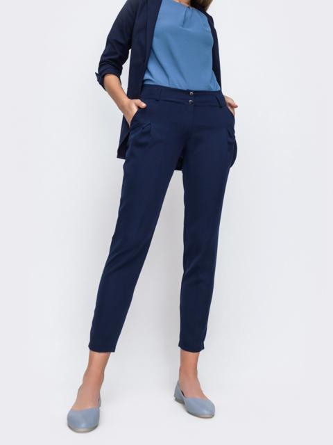 Укороченные брюки с вместительными карманами по бокам тёмно-синие   - 49638, фото 1 – интернет-магазин Dressa