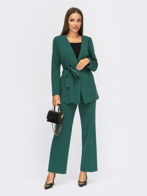 Зеленый брючный костюм с пиджаком на одну пуговицу 55056, фото 1