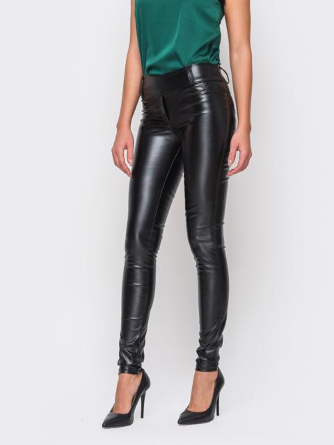 Черные кожаные лосины без застежек - 10638, фото 1 – интернет-магазин Dressa