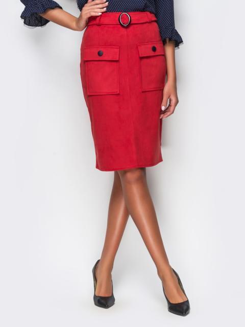 Краснаяя замшевая юбка-футляр с карманами на полочке - 12156, фото 1 – интернет-магазин Dressa