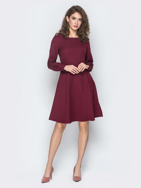 Платье из костюмной ткани с потайной молнией бордовое - 18564, фото 1 – интернет-магазин Dressa