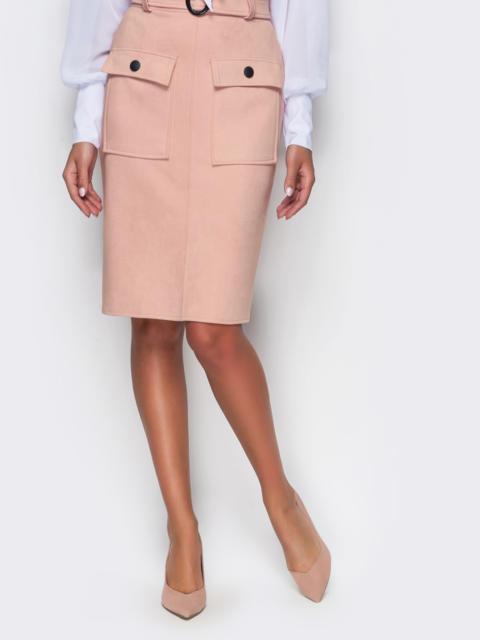 Розовая замшевая юбка-футляр с карманами на полочке - 12157, фото 1 – интернет-магазин Dressa