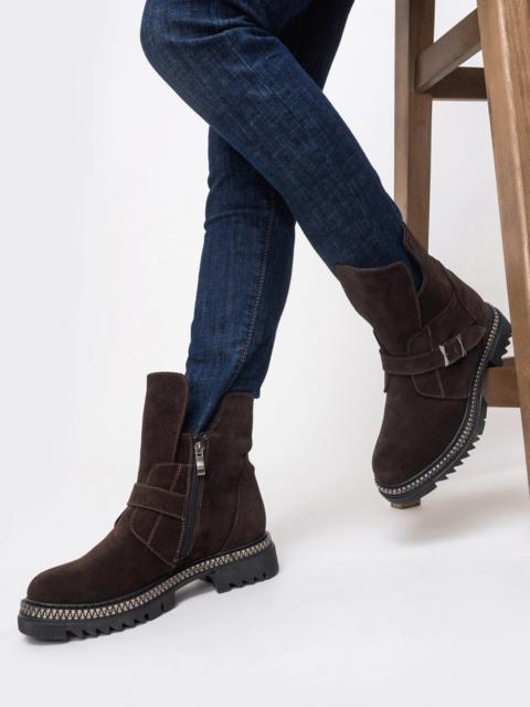 Зимние ботинки из замши коричневого цвета - 41639, фото 1 – интернет-магазин Dressa