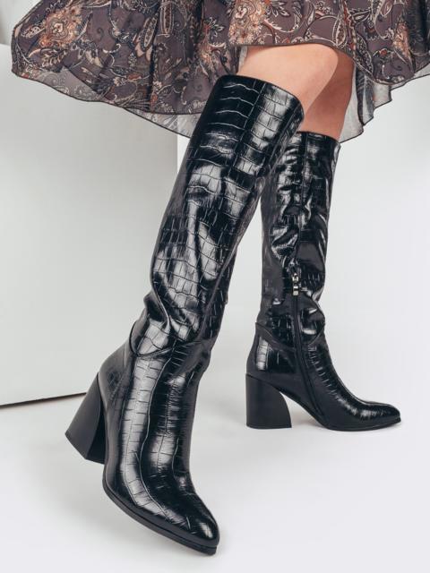 Зимние сапоги со змеиным узором на устойчивом каблуке чёрные 51735, фото 1