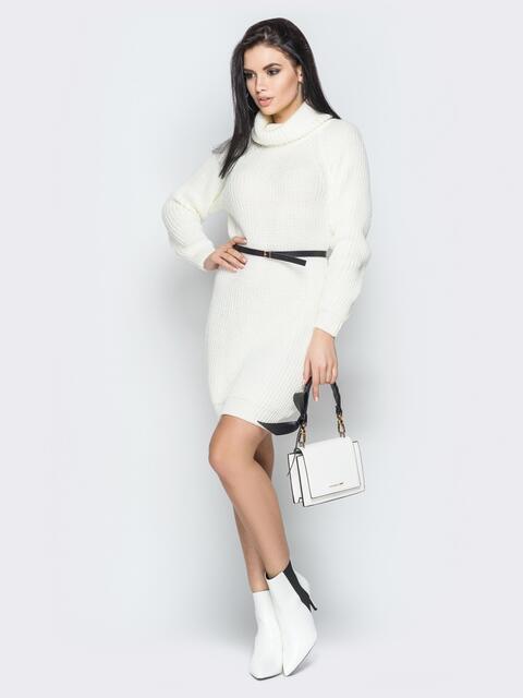 Белое платье с рукавом-реглан и поясом - 19475, фото 1 – интернет-магазин Dressa