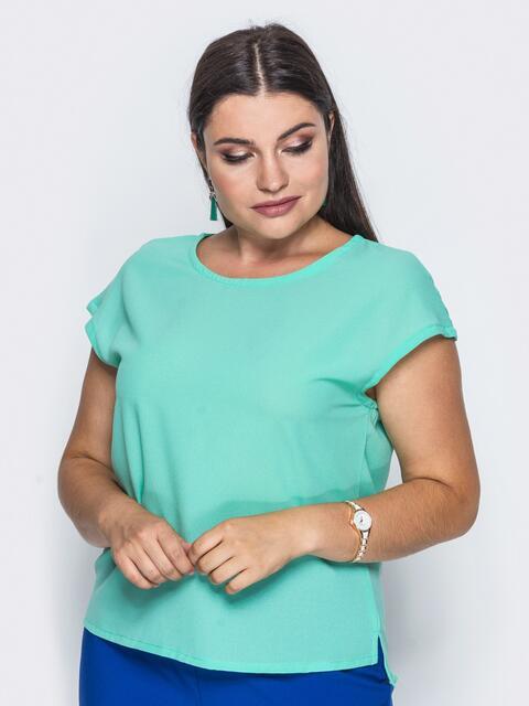 Блузка свободного кроя из креп-шифона бирюзовая - 14154, фото 2 – интернет-магазин Dressa