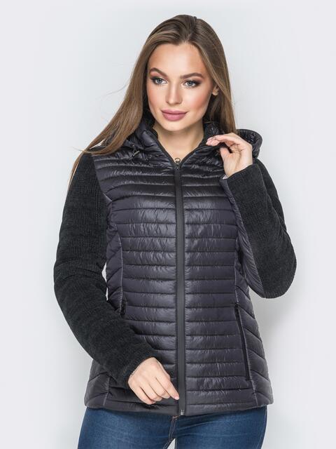 Чёрная куртка с капюшоном на кулиске и велюровыми рукавами - 20285, фото 1 – интернет-магазин Dressa