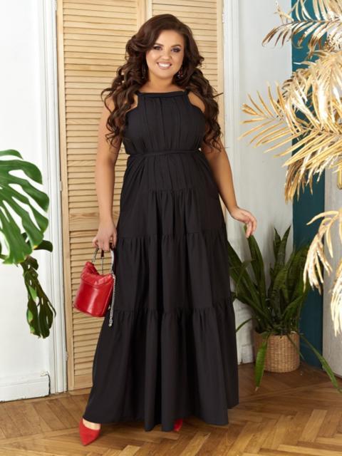 Длинное платье батал с многоярусной юбкой черное - 48715, фото 1 – интернет-магазин Dressa