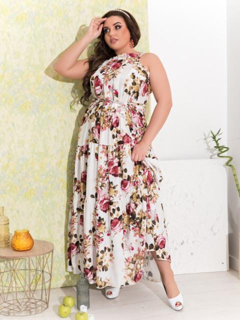 Длинное платье батал с принтом и многоярусной юбкой белое - 48721, фото 1 – интернет-магазин Dressa