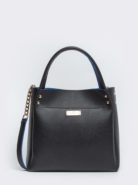 Фактурная сумка-тоут с цепочкой на ремешке чёрная - 20549, фото 1 – интернет-магазин Dressa