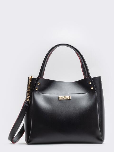 Глянцевая сумка-тоут с цепочкой на ремешке чёрная - 20553, фото 1 – интернет-магазин Dressa