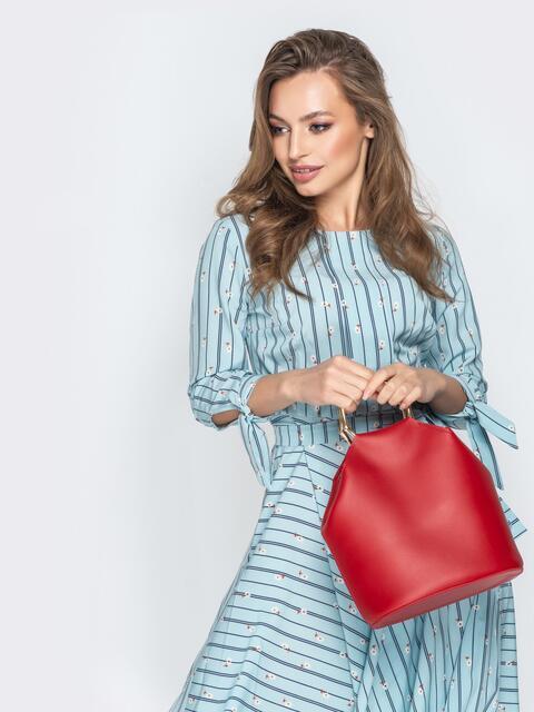 Красная сумка-торба с металлическими ручками и ремешком - 20565, фото 1 – интернет-магазин Dressa
