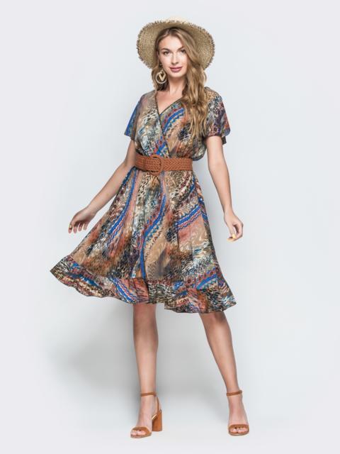 Принтованное платье из софта с запахом бежевое 38507, фото 1