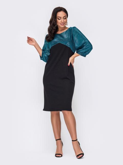 Приталенное платье батал с бирюзовое кокеткой из люрекса 52215, фото 1
