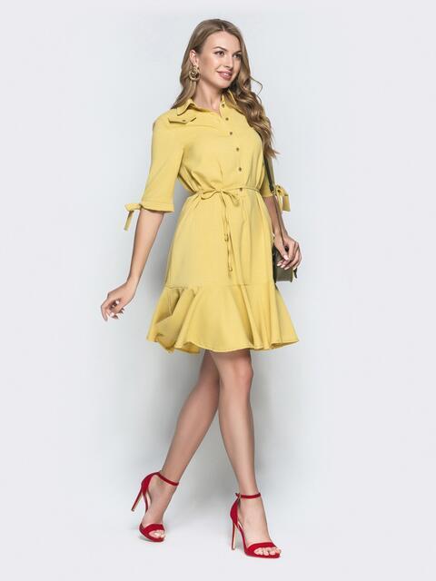 Приталенное платье из льна с оборкой по низу желтое - 39553, фото 1 – интернет-магазин Dressa