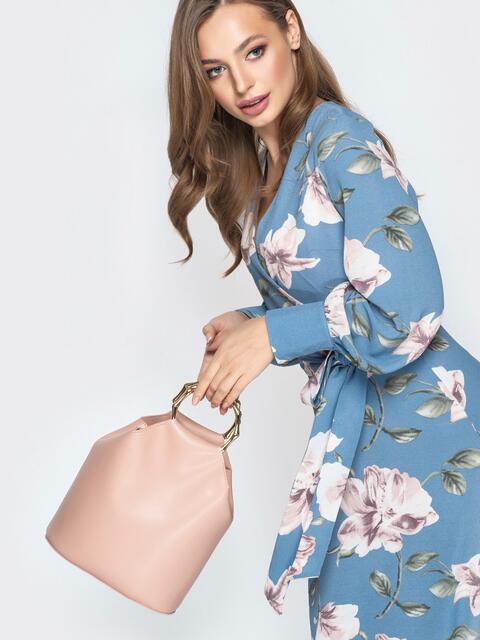 Пудровая сумка-торба с металлическими ручками и ремешком - 20566, фото 1 – интернет-магазин Dressa