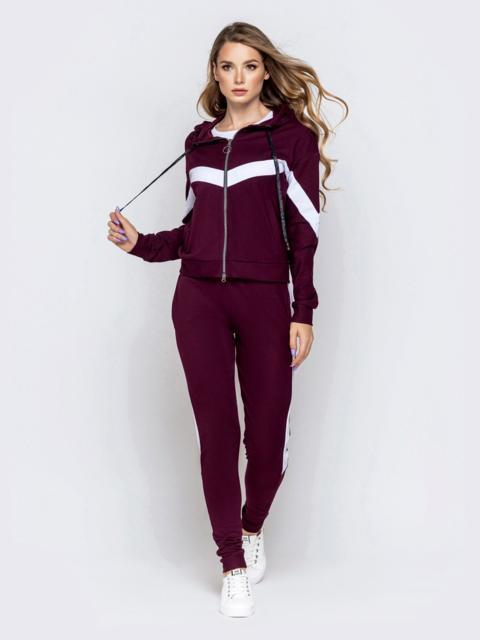 Спортивный костюм со вставками из кофты и штанов бордовый - 40514, фото 1 – интернет-магазин Dressa