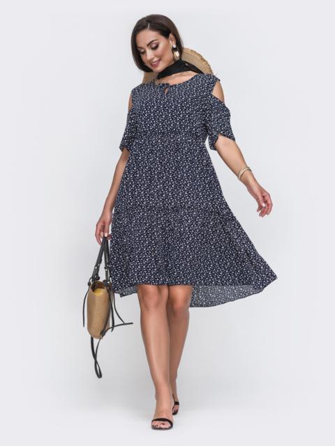 Тёмно-синее платье батал с принтом и открытыми плечами 49588, фото 1