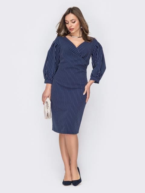 Темно-синее платье в полоску с объемными рукавами 53433, фото 1