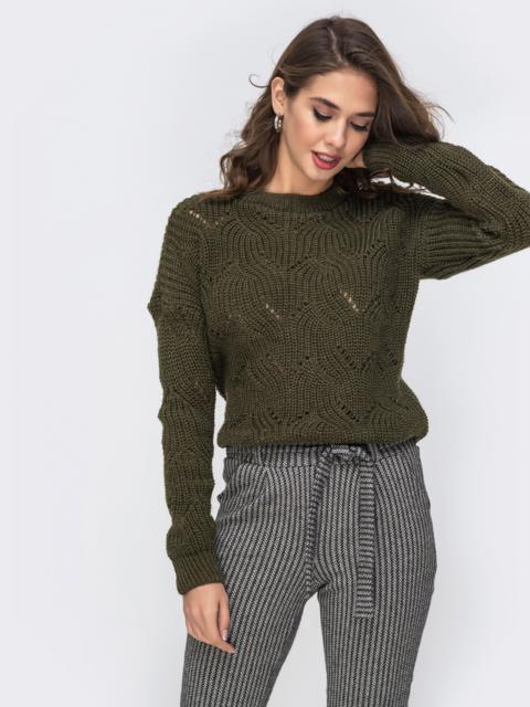 Укороченный свитер цвета хаки с ажурной вязки 42179, фото 1