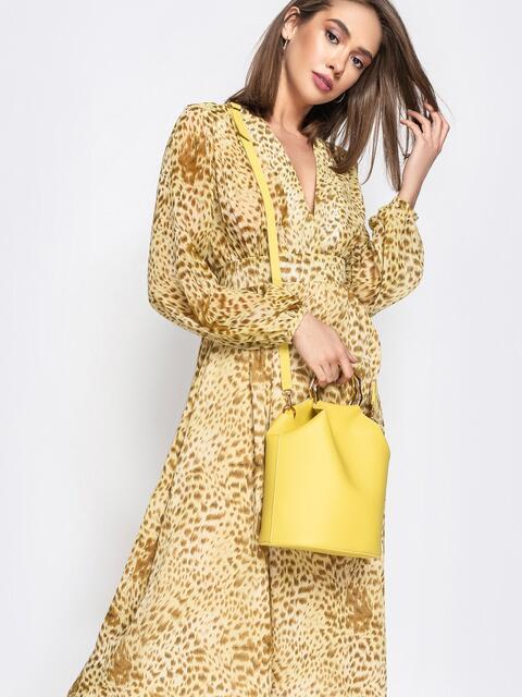 Желтая сумка-торба с металлическими ручками и ремешком - 20564, фото 1 – интернет-магазин Dressa