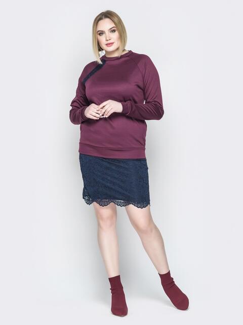 Бордовое платье с имитацией свитшота и юбки - 19958, фото 1 – интернет-магазин Dressa