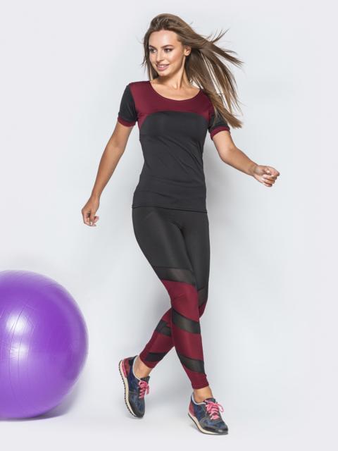 Чёрный комплект для фитнеса с бордовыми вставками - 38770, фото 1 – интернет-магазин Dressa