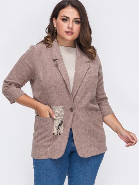 Коричневый пиджак большого размера с накладными карманами 50865, фото 1