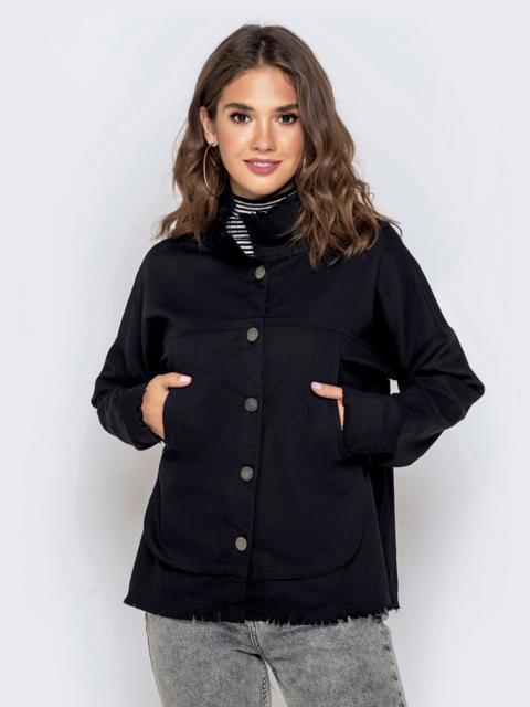 Легкая куртка с пуговицами по спинке чёрная - 40661, фото 1 – интернет-магазин Dressa